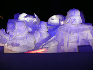 star wars snow scultpure at night