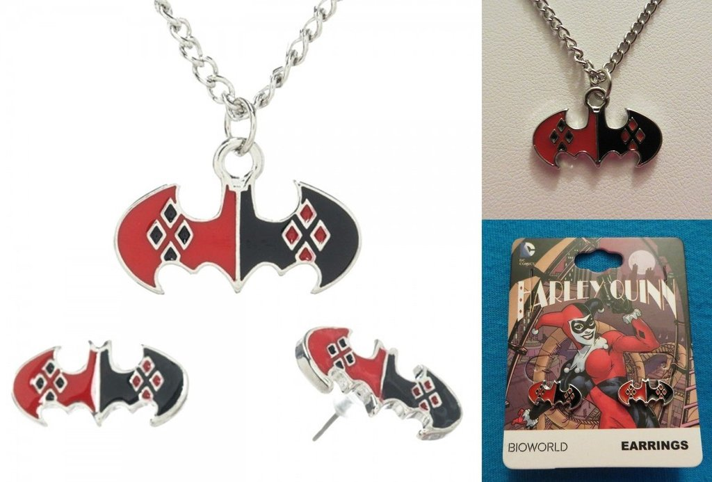 Harley Quinn Necklace and Earring Set from nerdimports