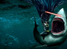 batman with a lightsaber vs a shark