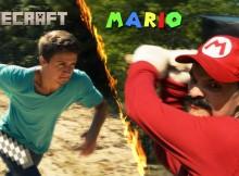 Steve from Minecraft battles Mario from Super Mario Bros