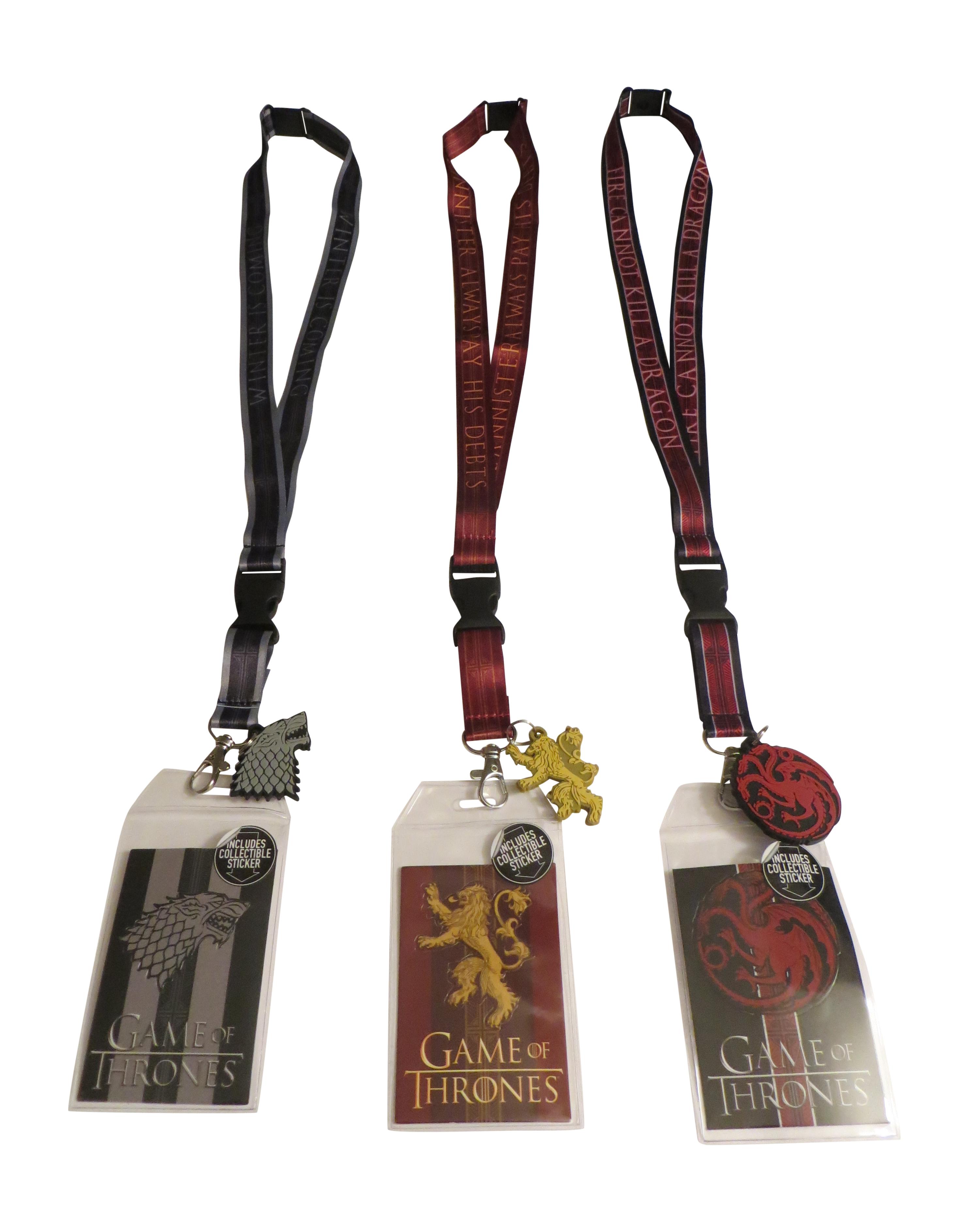 Game of Thrones Lanyard Bundle Stark Lannister Targaryen